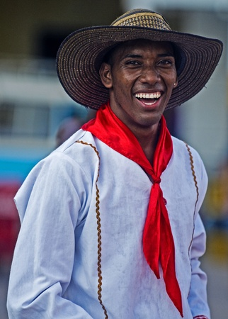 Catagena de Indias , Colombia - December 22 : Portrait of a colombian man participant  in the celebration for the presentation of the new city symbol held in Cartagena de indias on December 22 2010