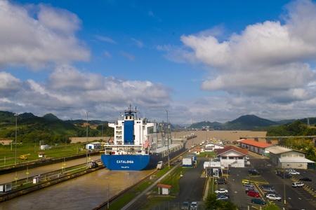 PANAMA CANAL , PANAMA - DEC 25 2010 : Huge ship crossing the Panama canal