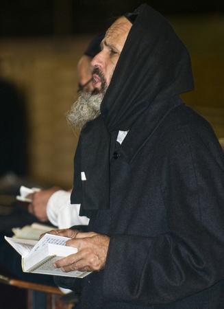 JERUSALEM - SEP 26 : Jewish men prays during the penitential prayers the