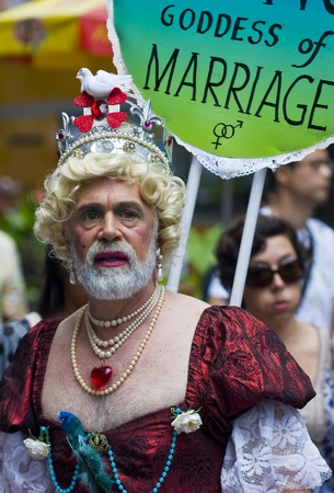 NEW YORK -  JUNE 26 : An unidentified participant celebrates gay pride parade after passing the same sex marrige bill in New York city on June 26 2011. Stock Photo - 10853979