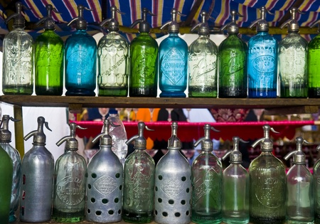 seltzer: Close-up on an antique seltzer bottels in SanTelmo market in Buenos Aires Argentina Editorial
