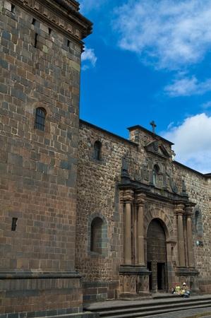 incan: The &Santo Domingo& church in Cusco Peru build on the ruins of the Incan temple of the sun (Coricancha)