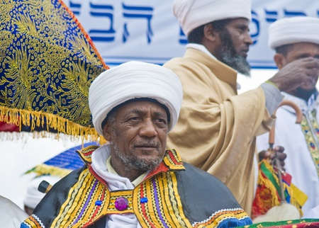 exprassion: JERUSALEM - NOV 24 : Portrate of Kess the religious leader of the Ethiopian Jews during the Sigd the annual Jewish Ethiopian holiday in Jerusalem, Israel on November 24 2011.