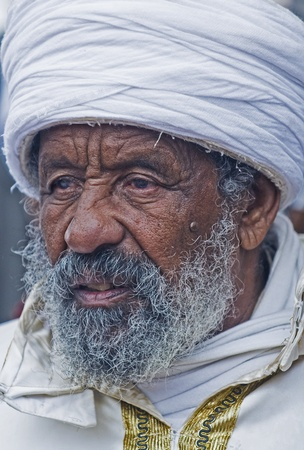 JERUSALEM - NOV 24 : Portrate of 'Kess' the religious leader of the Ethiopian Jews during the 'Sigd' the annual Jewish Ethiopian holiday in Jerusalem, Israel on November 24 2011.