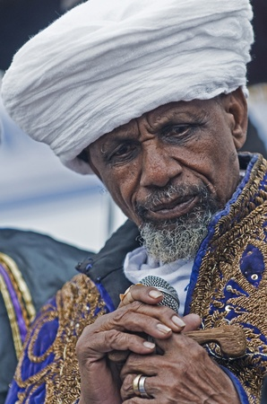 JERUSALEM - NOV 24 : Portrate of Kess the religious leader of the Ethiopian Jews during the Sigd the annual Jewish Ethiopian holiday in Jerusalem, Israel on November 24 2011.