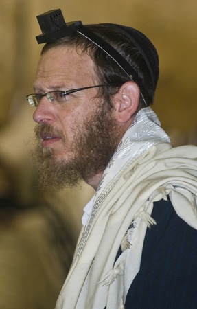 selichot: JERUSALEM - SEP 26 : Jewish man prays during the penitential prayers the Selichot in Jerusalem Israel