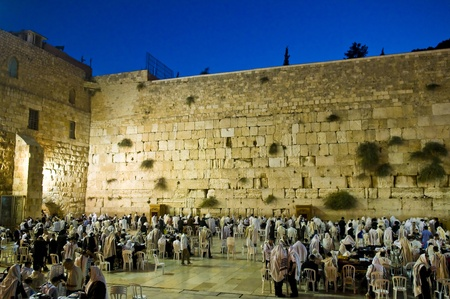 the western wall: JERUSALEM - SEP 26 : Jewish crowd prays during the penitential prayers the Selichot in Jerusalem Israel