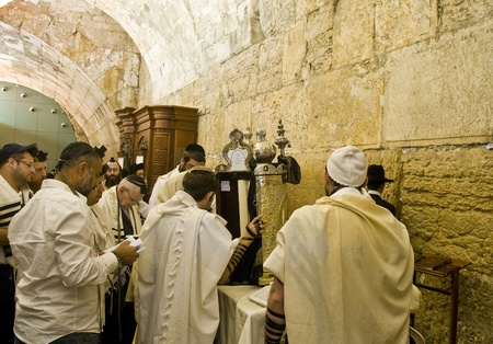 selichot: JERUSALEM - SEP 26 : Jewish old man prays during the penitential prayers the Selichot in Jerusalem Israel