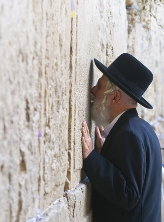JERUSALEM - NOVEMBER 03 2011 - Orthodox jewish man prays in The western wall  , An Important Jewish religious site located in the Old City of Jerusalem , Israel Stock Photo - 11314551