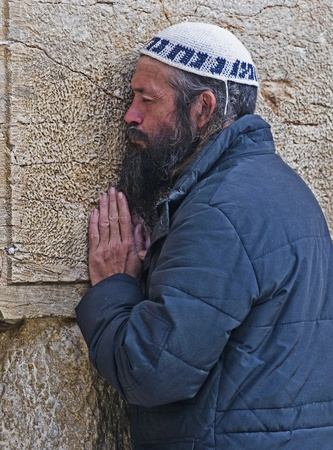 JERUSALEM - SEP 26 : Jewish man prays during the penitential prayers the  Selichot in Jerusalem Israel