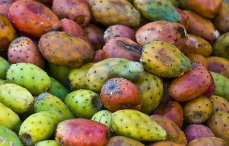 sabre's: Close-up of opuntia cactus fruits in a market in Cusco Peru