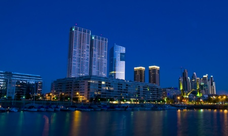 city living:  Puerrto madero at night -  puerto madero is the new modern neighborhood  in Buenos Aires Argentina