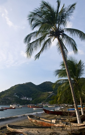 caribbeans: Beach of Taganga a fishing village in the caribbean sea , colombia