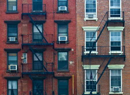 A fire escape of an apartment building in New York city Stock Photo