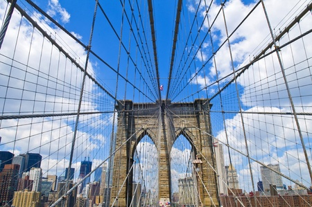 manhatan: Architctural details of the Brooklyn bridge in New York city Stock Photo