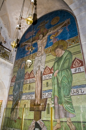 Interior wall of the church of the Holy sepulcher in Jerusalem , Israel