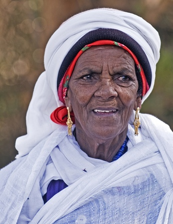 JERUSALEM - NOV 24 : Portrait of Ethiopian Jew woman during the 'Sigd' holiday in Jerusalem . Israel on November 24 2011 , The Jewish Ethiopean community celebrates the 'Sigd' annualy in Jerusalem