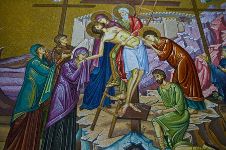 Mosaic image in the church of the Holy sepulcher in Jerusalem , Israel