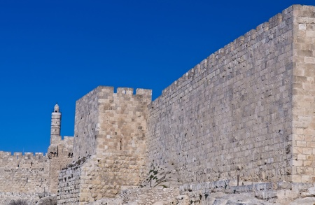 The wall of old Jerusalem in Israel  photo