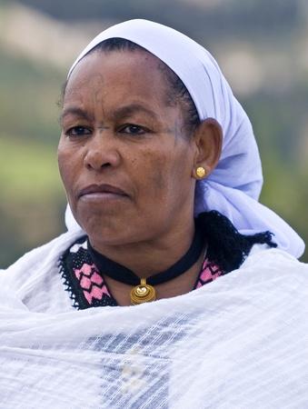 JERUSALEM - NOV 24 : Portrait of Ethiopian Jew woman during the Sigd holiday in Jerusalem . Israel on November 24 2011 , The Jewish Ethiopean community celebrates the  Stock Photo - 12513477