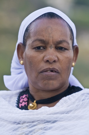 JERUSALEM - NOV 24 : Portrait of Ethiopian Jew woman during the Sigd holiday in Jerusalem . Israel on November 24 2011 , The Jewish Ethiopean community celebrates the