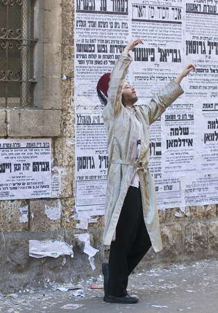 JERUSALEM - MARS 09 : Ultra Orthodox man during Purim in Mea Shearim Jerusalem on Mars 09 2012 , Purim is a Jewish holiday celebrates the salvation of the jews from jenocide in ancient Persia
