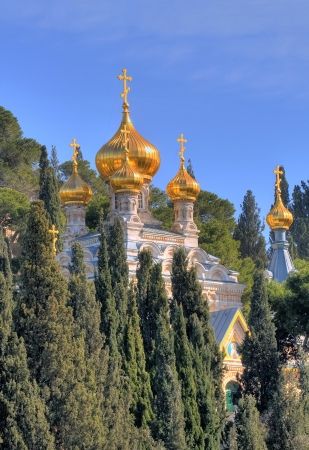 holyland: The Russian Orthodox church of Mary Magdalene at the mount Olives in Jerusalem , Israel