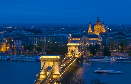 danuba: The old Chain bridge in Budapest Hungary by night Editorial