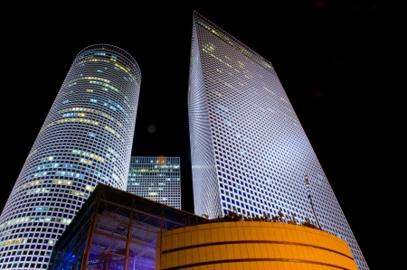 The Azrieli towers at night , Tel aviv Israel photo