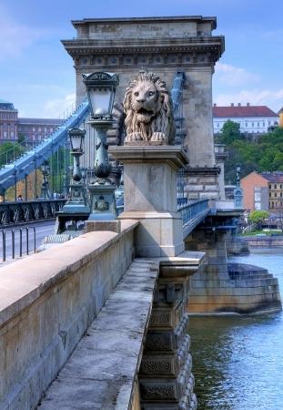 danuba: The old Chain bridge in Budapest Hungary