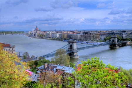 basillica: A view of Budapest from the Royal palace showing the parlament and the Chain bridge