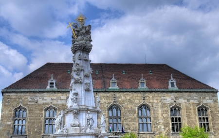danuba: Statue of the Holy Trinity at Buda castle in Budapest Hungary