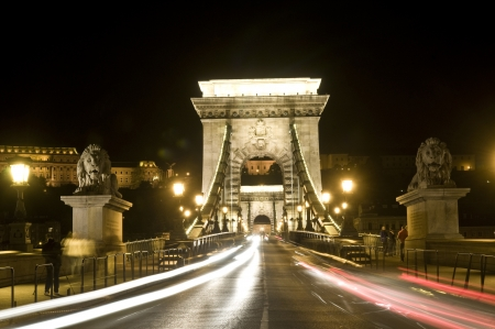 danuba: The old Chain bridge in Budapest Hungary at night Stock Photo