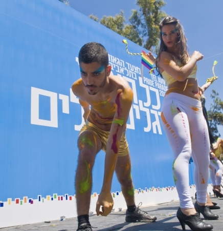 TEL AVIV , ISRAEL - JUNE 08  : An unidentified dancers performing during the opening of the annual Gay pride in Tel Aviv on June 08 2012
