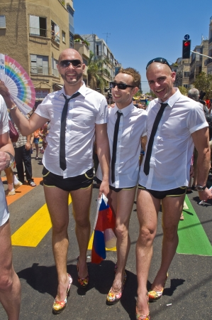 TEL AVIV , ISRAEL - JUNE 08  : An unidentified Israeli men takes part in the annual Gay pride march in Tel Aviv on June 08 2012  Stock Photo - 14140973