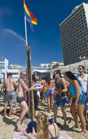 TEL AVIV , ISRAEL - JUNE 08  : An unidentified Israelis takes part in a beach party at Gordon beach followed the annual Gay pride in Tel Aviv on June 08 2012  Stock Photo - 14140927