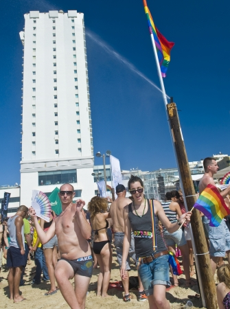 israelis: TEL AVIV , ISRAEL - JUNE 08  : An unidentified Israelis takes part in a beach party at Gordon beach followed the annual Gay pride in Tel Aviv on June 08 2012