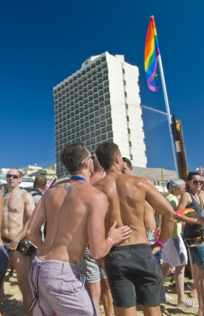 TEL AVIV , ISRAEL - JUNE 08  : An unidentified Israelis takes part in a beach party at Gordon beach followed the annual Gay pride in Tel Aviv on June 08 2012  Stock Photo - 14140917