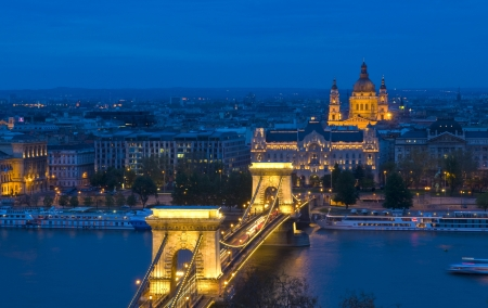 danuba: The old Chain bridge in Budapest Hungary by night Stock Photo