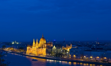 basillica: A view of Budapest from the Royal palace showing the Hungarian parlament  Stock Photo