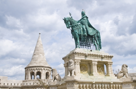 danuba: Statue of Saint Stephen in front of Fishermans bastion at Buda castle in Budapest Hungary Stock Photo