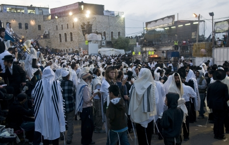 exprassion: MERON , ISRAEL - MAY 10 : Orthodox Jews celebrates Lag Baomer in Bar Yochai tomb in Meron , Israel on May 10 2012 , Lag Baomer is a Jewish holiday in wich it is customary to light bonfire Editorial