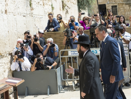 JEUSALEM - JULY 29 :  US Republican presidential candidate Mitt Romney visit the Western wall in old Jerusalem during his visit to Israel on July 29 2012 Stock Photo - 14628209