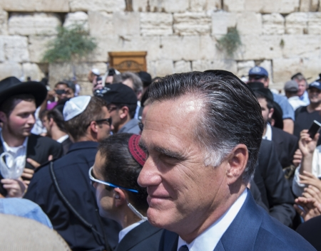 JEUSALEM - JULY 29 :  US Republican presidential candidate Mitt Romney visit the Western wall in old Jerusalem during his visit to Israel on July 29 2012 Stock Photo - 14628205