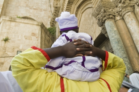 spirtual: JERUSALEM - APRIL 05 : Nigerian pilgrims visit the church of the Holy Sepulcher in Jerusalem Israel during Easter on April 05 2012
