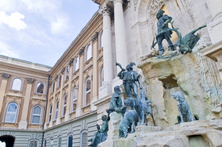 danuba: Statue at the Royal palace in Budapest Hungary  Editorial