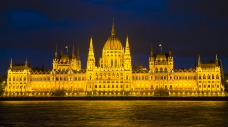 The Hungarian parliament building in Budapest by night photo