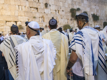 JERUSALEM - SEP 25 : Jewish men prays during the penitential prayers the Selichot , held on September 25 2012 in the Wailing wall in Jerusalem Israel  Stock Photo - 15452922