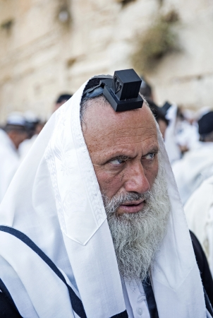 JERUSALEM - SEP 25 : Jewish man prays during the penitential prayers the Selichot , held on September 25 2012 in the Wailing wall in Jerusalem Israel  Stock Photo - 15452938