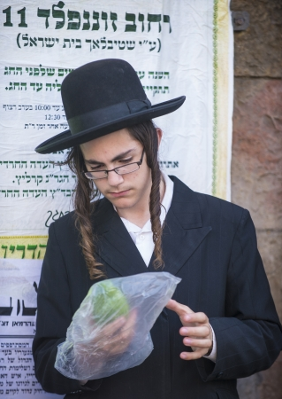 raligion: JERUSALEM - SEP 28 : An ultra-orthodox young Jewish man inspects an Etrog in the Four spesies market in Jerusalem Israel on September 28 2012 , Etrog is one of the Four spesies used during the celebration of Sukot